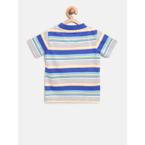 United Colors of Benetton Boys Blue & Grey Melange Striped Round Neck T-shirt
