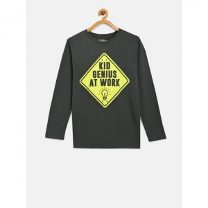 The Childrens Place Boys Green Printed Round Neck T-shirt