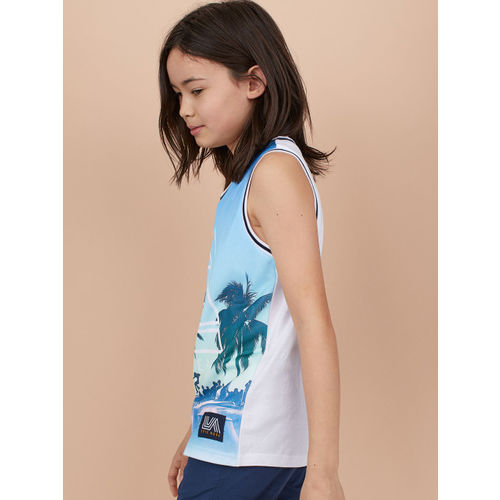 H&M Boys Blue Printed Vest top with mesh