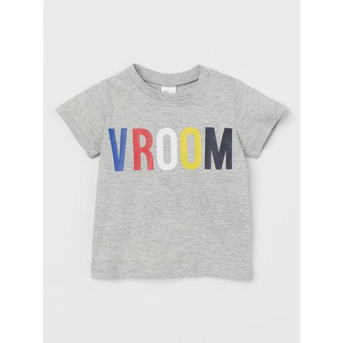 H&M Boys Grey Printed Cotton T-shirt