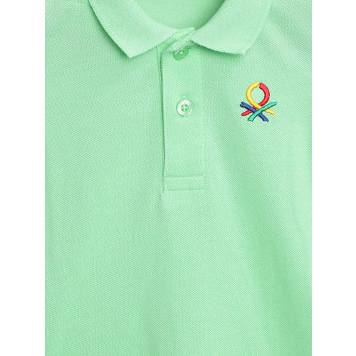 United Colors of Benetton Boys Green Solid Polo Collar T-shirt