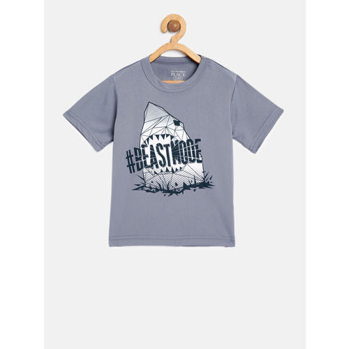 The Childrens Place Boys Grey Printed Round Neck T-shirt