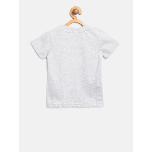 United Colors of Benetton Boys Grey Melange Solid Round Neck T-shirt