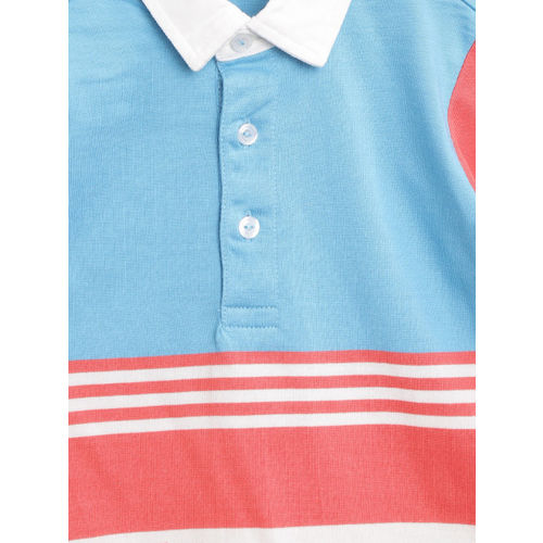 United Colors of Benetton Boys Blue & Pink Striped Polo Collar T-shirt