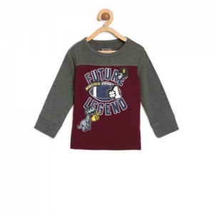 The Childrens Place Boys Maroon & Grey Printed Round Neck T-shirt