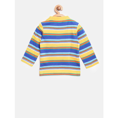 United Colors of Benetton Boys Blue & Yellow Striped Round Neck T-shirt