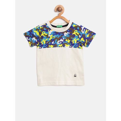 United Colors of Benetton Boys Off-White & Blue Printed Round Neck T-shirt