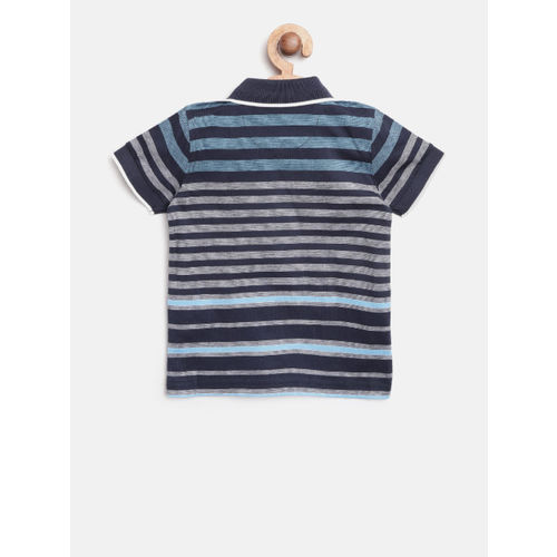 United Colors of Benetton Boys Navy Blue & White Striped Polo Collar T-shirt