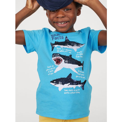 H&M Boys Blue Printed Reversible Sequin T-shirt
