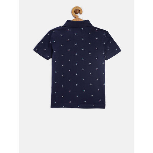 U.S. Polo Assn. Kids Boys Navy Blue & White Printed Polo Collar T-shirt