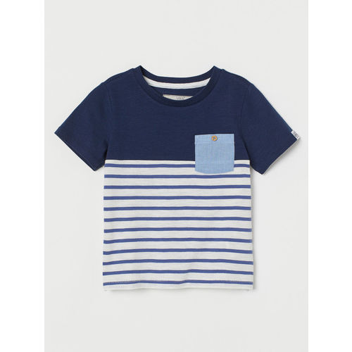 H&M Boys Blue & White Striped T-shirt With a Chest Pocket