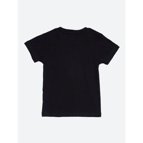 Kids Ville Boys Black Printed Round Neck T-shirt