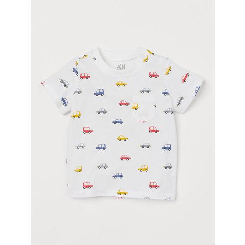 H&M Boys White Printed Cotton T-shirt