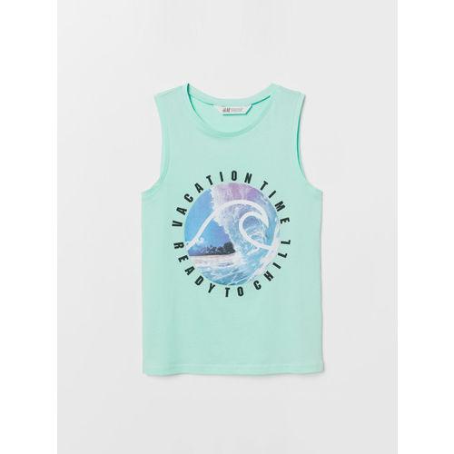 H&M Girls Green Printed Vest T-shirt