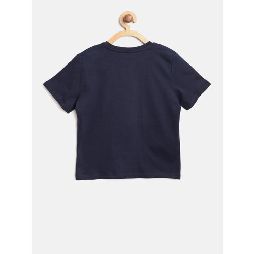Mango Kids Boys Navy Blue & Mustard Yellow Printed Round Neck T-shirt