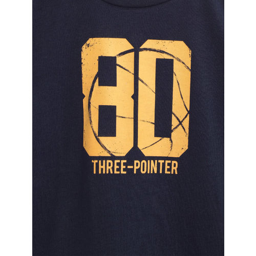 Mango Kids Boys Navy Blue & Mustard Yellow Printed Round Neck T-shirt