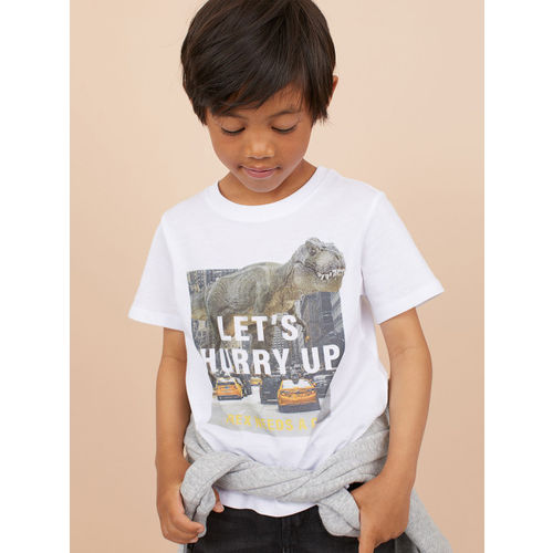H&M Boys White Printed T-shirt