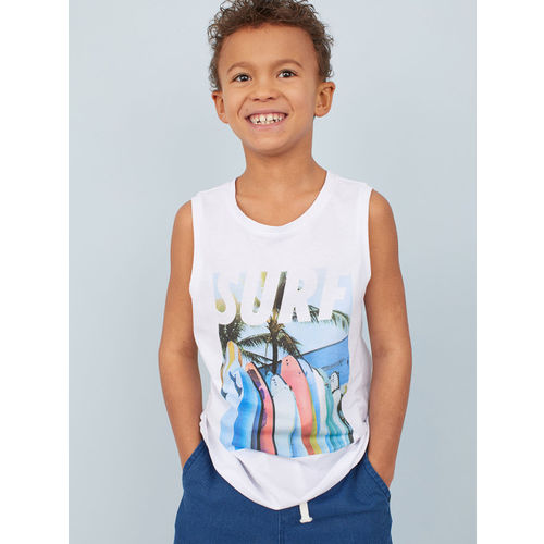 H&M Boys White Printed Vest T-shirt