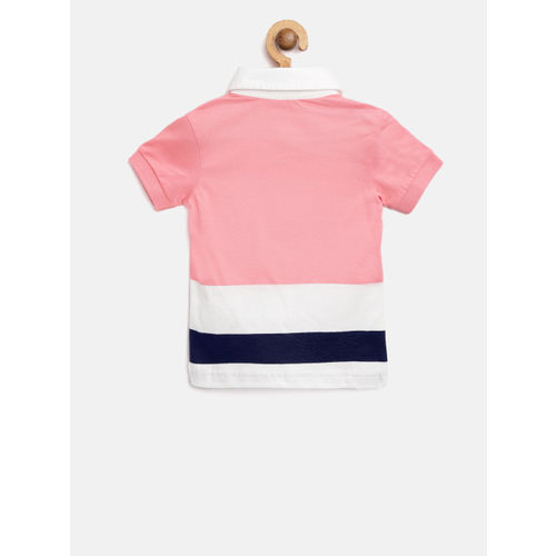 United Colors of Benetton Boys Pink & White Colourblocked Polo Collar T-shirt