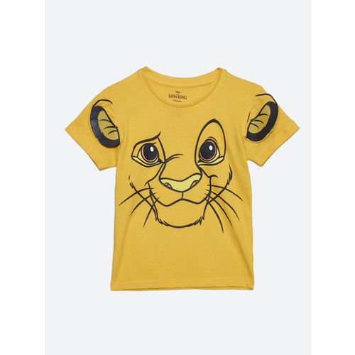 Kids Ville Boys Yellow Printed Round Neck T-shirt