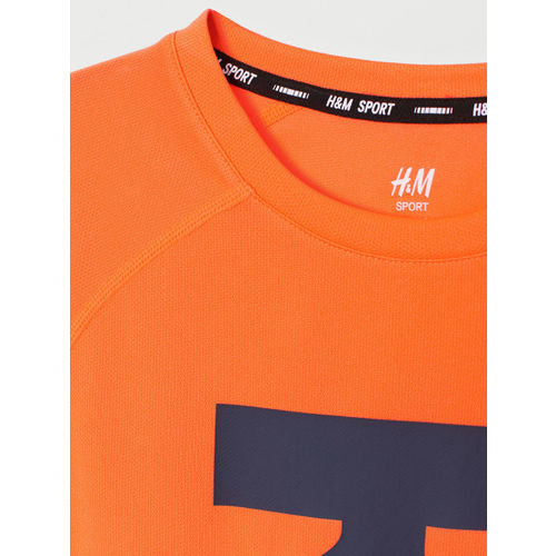 H&M Boys Orange Printed Sports T-shirts