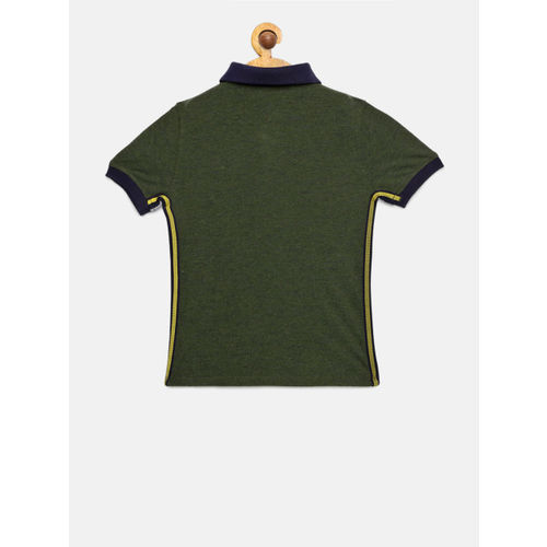 Tommy Hilfiger Boys Olive Green Solid Polo Collar T-shirt