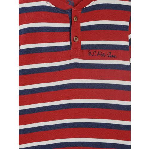 U.S. Polo Assn. Kids Boys Red & White Striped Henley Neck T-shirt