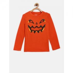 The Childrens Place Boys Orange Printed Round Neck T-shirt