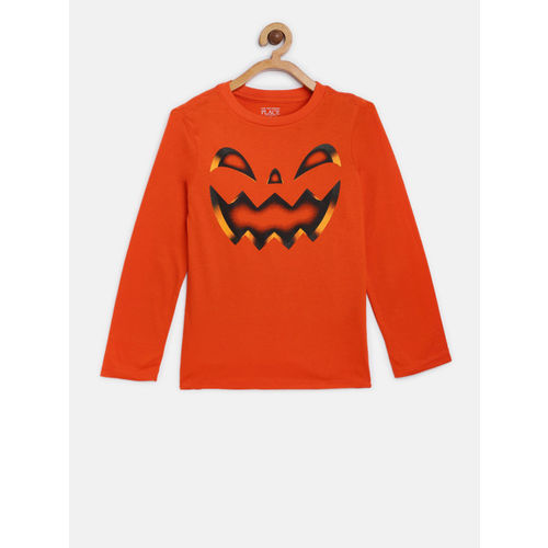 The Childrens Place Boys Orange Printed Round Neck T-shirt