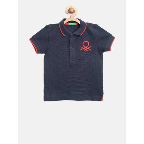 United Colors of Benetton Boys Navy Blue Self-Striped Polo Collar T-shirt