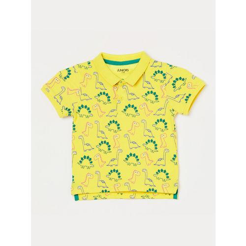 Juniors Boys Yellow Printed Polo Collar T-shirt