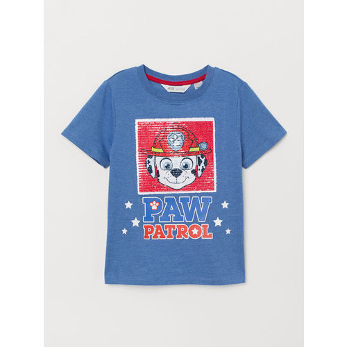 H&M Boys Blue and Red Printed Reversible Sequin T-shirt