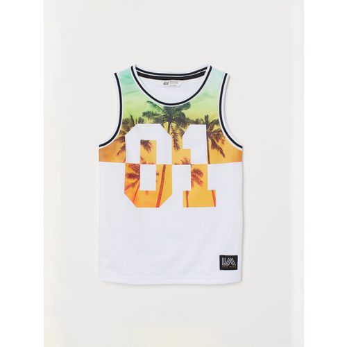 H&M Boys White Printed Vest top with mesh