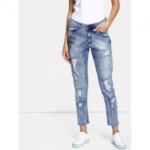 Kook N Keech Blue Cotton Boyfriend Fit Stretchable Cropped Jeans