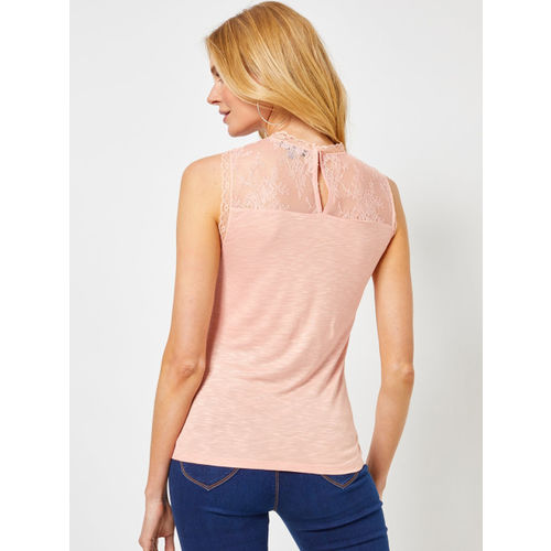 DOROTHY PERKINS Women Peach-Coloured Solid Top