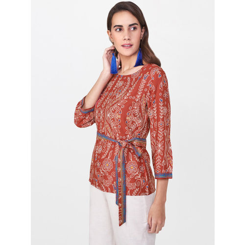 Global Desi Women Rust Red Printed Top