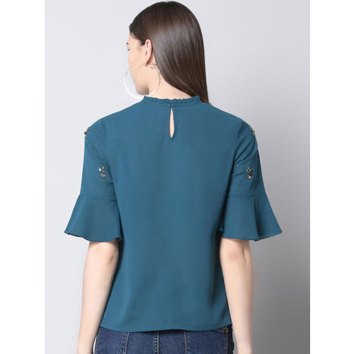 FabAlley Women Teal Blue Solid A-Line Top