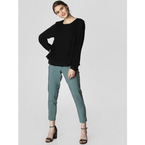 Vero Moda Women Black Pleated Solid Top