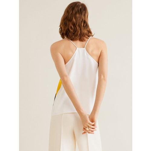 MANGO Women White & Yellow Colourblocked Top