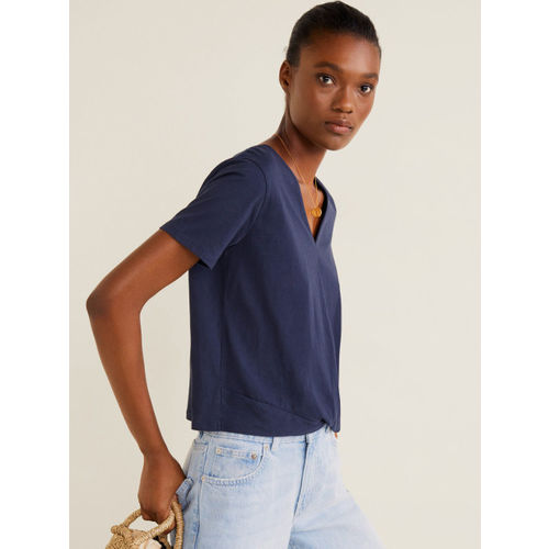 MANGO Women Navy Blue Solid Twisted Top