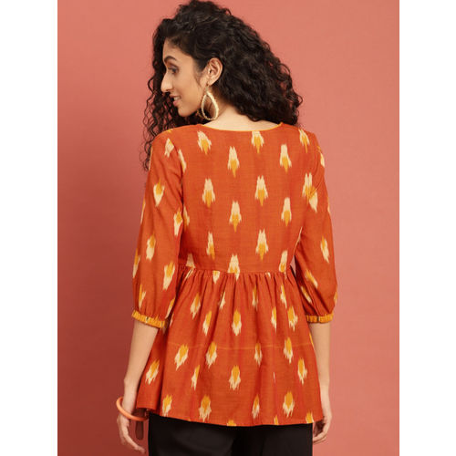Taavi Women Orange Woven Design Ikat Top With Gathers & Tassels