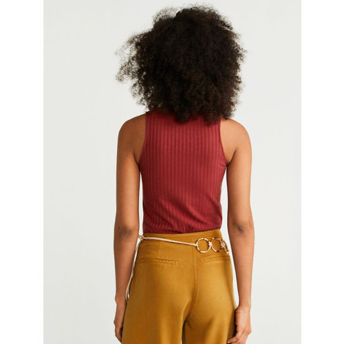 MANGO Women Rust Brown Ribbed Fitted Top