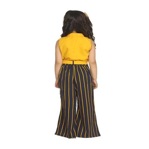LilPicks Kids Mustard & Navy Striped Jumpsuit