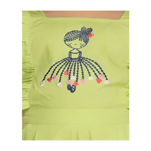 LilPicks Kids Green Embroidered Jumpsuit