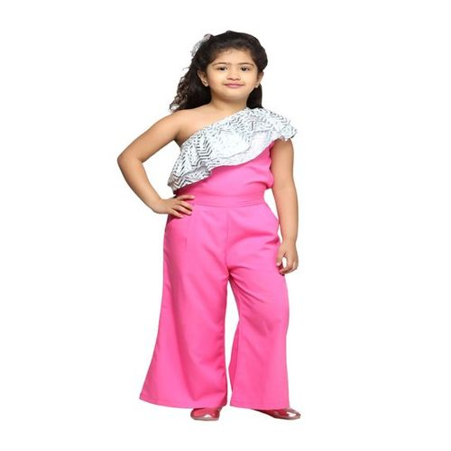 LilPicks Kids Pink & Silver Printed Jumpsuit