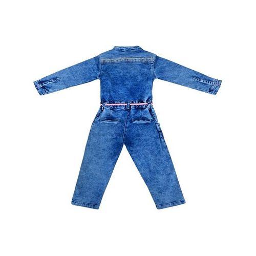 Tales & Stories Kids Light Blue Textured Jumpsuits With Belt
