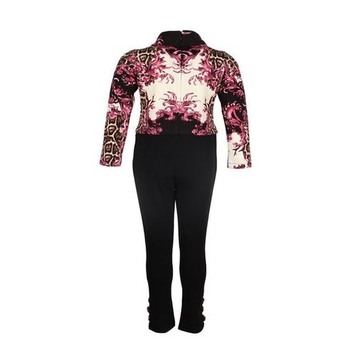 Cutecumber Kids Fuchsia & Pink Printed Jumpsuit