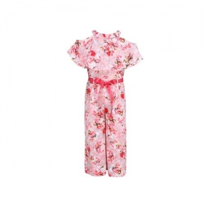 Cutecumber Kids Pink Printed Jumpsuit With Ribbon Belt