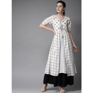 Moda Rapido Women White & Black Solid Layered Kurta