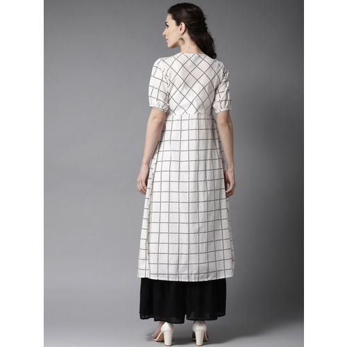 Moda Rapido Women White & Black Solid Layered Kurta